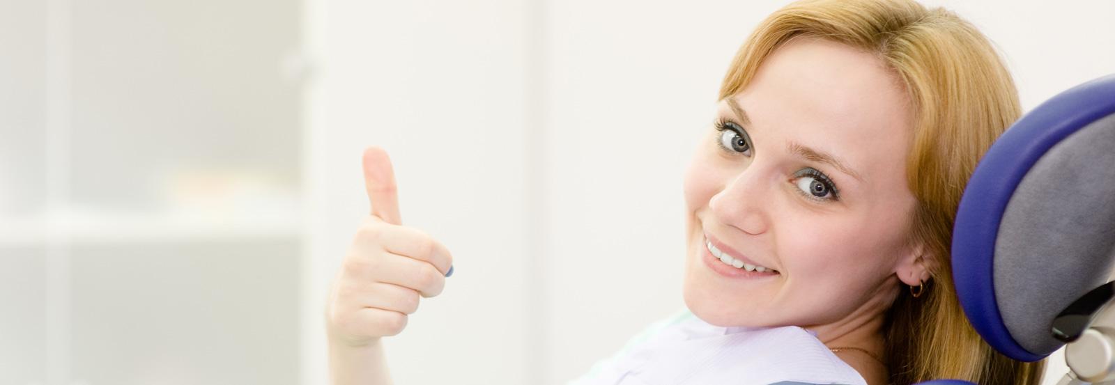 A woman in dental office